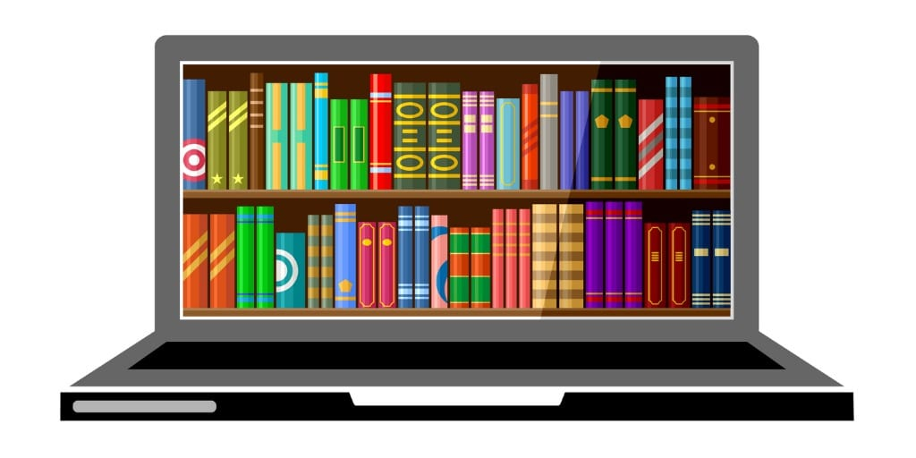 laptop-with-digital-books-online-education-concept-library-vector-id860783634