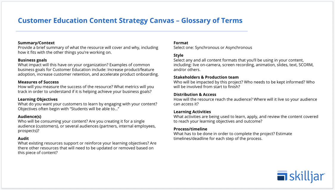 Customer Education Content Strategy Canvas_Glossary